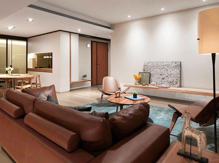 日韩风格-99.61平米三居室-装修样板间