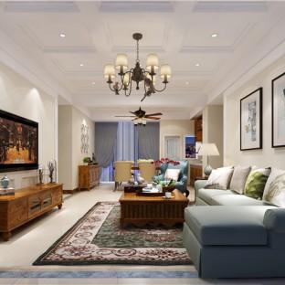简美风格三居室客厅装修效果图