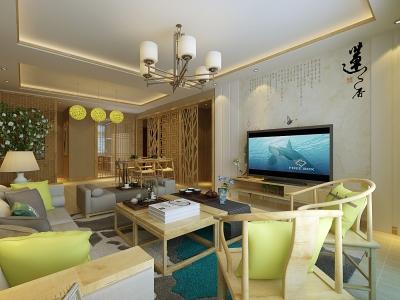 中式古典-123平米三居室装修样板间