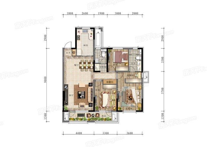 现代简约-148平米三居室-装修样板间