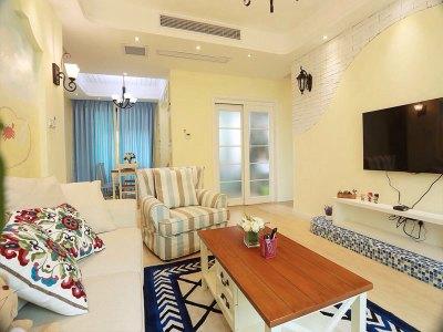 地中海风格-89.9平米二居室整装装修样板间