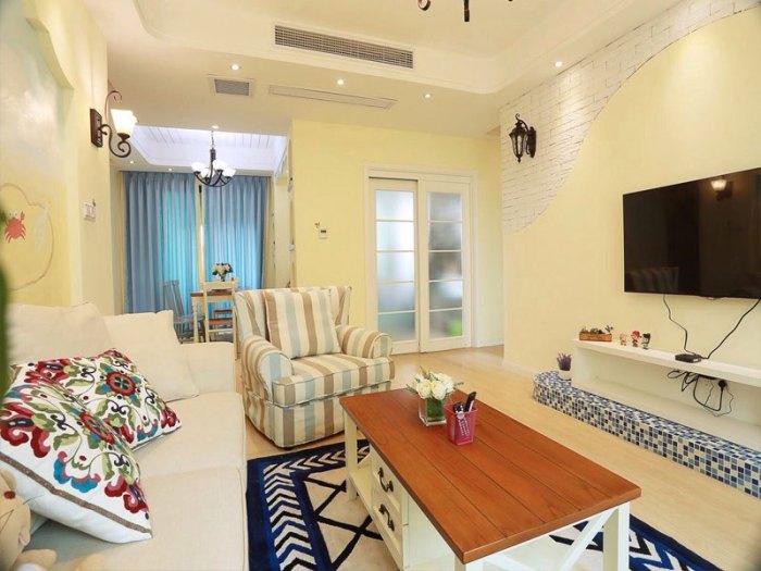 地中海风格-89.9平米二居室整装-装修样板间