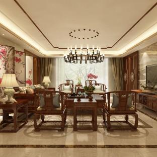 中式风格一居室客厅装修效果图