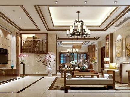 中式风格-163平米三居室装修样板间