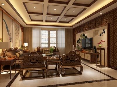 中式风格-250平米三居室装修样板间