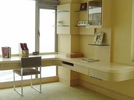 绿色现代风格书房飘窗装修设计图