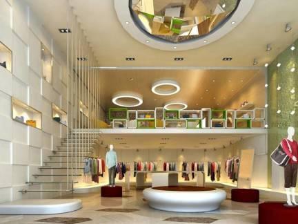 米色现代风格服装店吊顶装修设计图