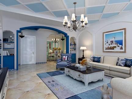 蓝白色地中海风格客厅吊顶装修图片