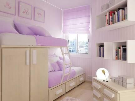 紫色简约风格儿童房榻榻米装修图