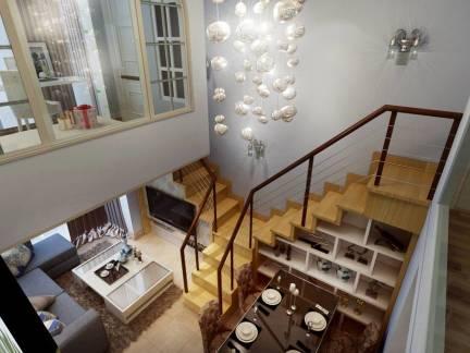 原木色现代风格客厅楼梯装修设计图