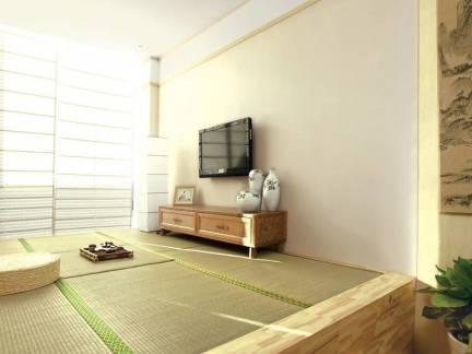 米色日式风格卧室榻榻米装修效果图