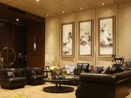温馨典雅简欧风格客厅米色背景墙