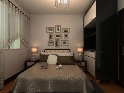 现代风格卧室白色照片墙装修图片