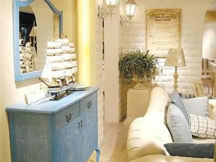 米色舒适地中海风格客厅背景墙装修效果图