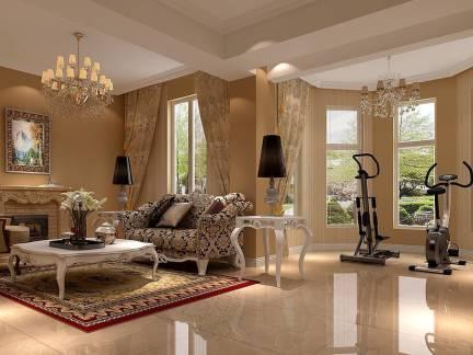 舒适白色欧式风格客厅灯具装修效果图