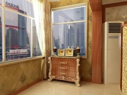 现代风格阳台配白色窗帘装修图片