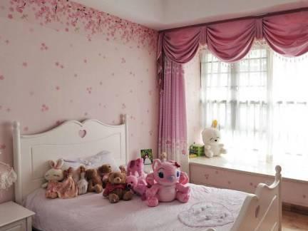 粉色温馨现代儿童房窗帘装修设计图