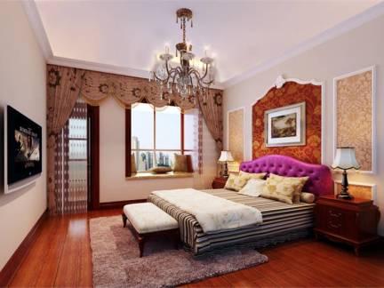 浪漫褐红色美式风格卧室床头柜装修图片