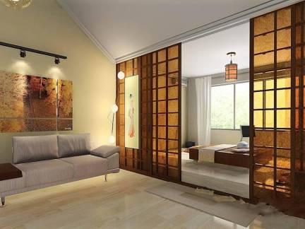 温馨棕色现代风格客厅隔断装修图片