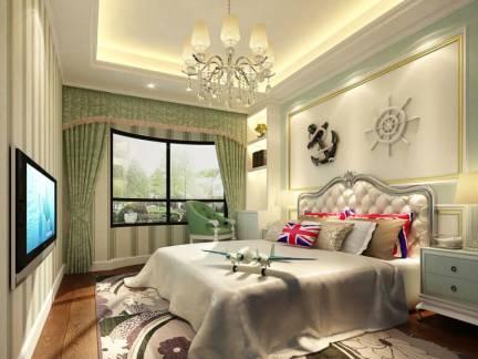 华美米色欧式风格卧室窗帘装修图片