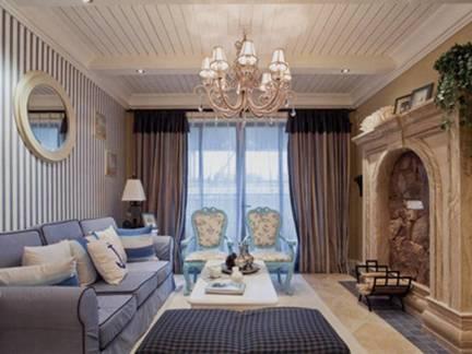 蓝色温馨地中海风格客厅沙发装修图片