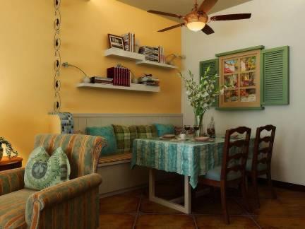 彩色田园风格餐厅餐桌装修图片