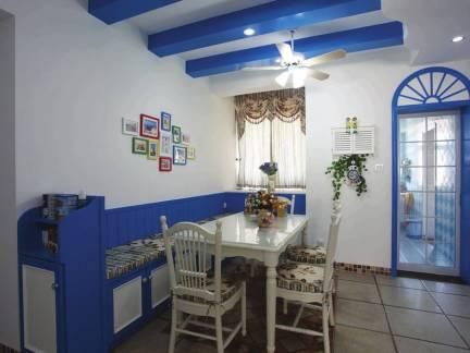 地中海风格餐厅蓝色吊顶隔断效果图