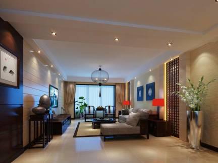 米色中式风格雅致客厅窗帘装修效果图