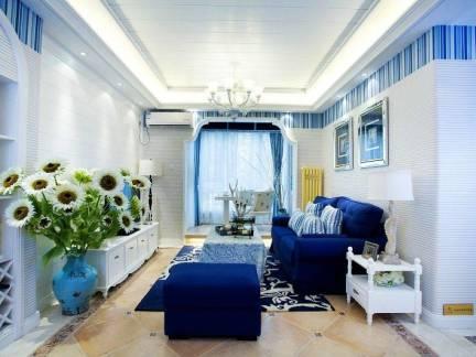 蓝色地中海风格客厅吊顶效果图