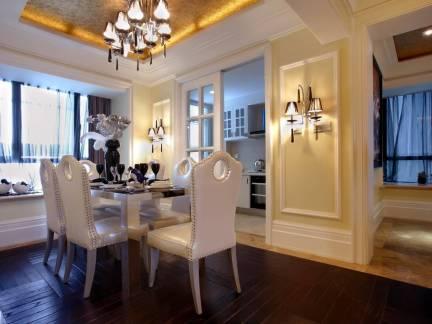 白色欧式风格餐厅灯具装修图片