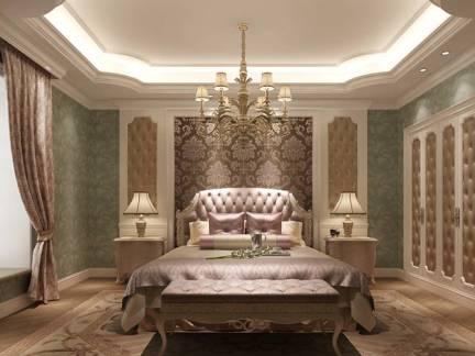 浪漫棕色欧式风格卧室窗帘装修图片