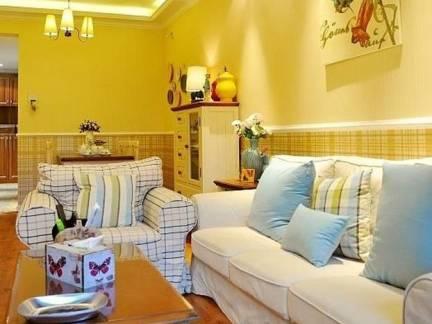 米色地中海风格客厅背景墙装修美图