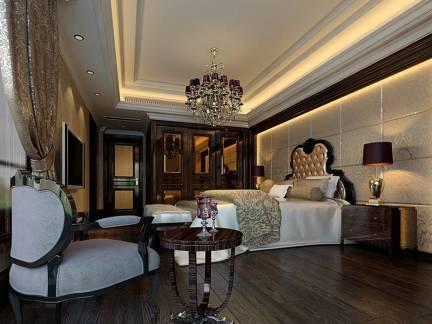 黑色欧式风格卧室吊顶装修图片