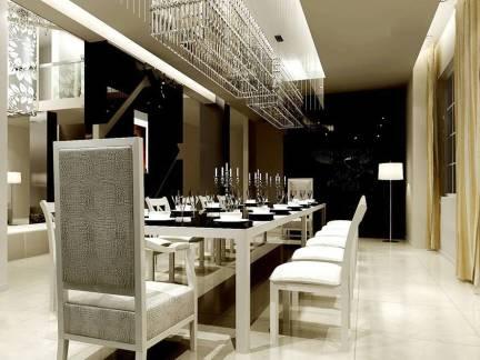 米色现代风格餐厅吊顶装修美图