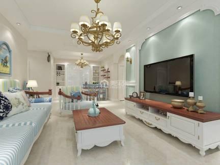 白色时尚地中海风格客厅电视柜装修设计图