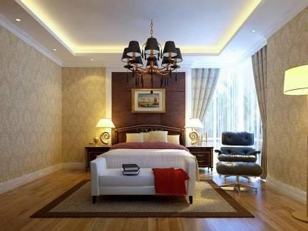 华美棕色欧式风格卧室窗帘装修图片