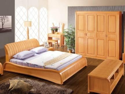 原木色中式风格卧室衣柜装修设计图
