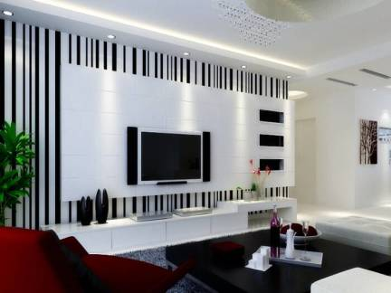 代简约风格客厅黑白条纹电视墙装修效果图-2018现代简约风格电视