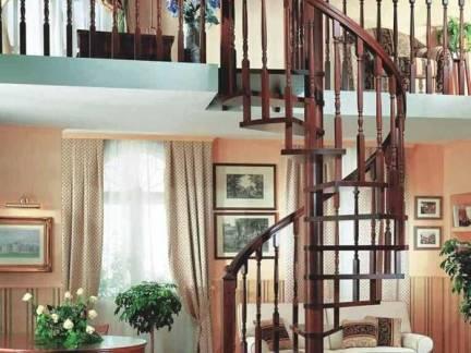 棕色中式风格客厅楼梯装修设计图