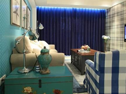 绿色地中海风格客厅背景墙装修图片