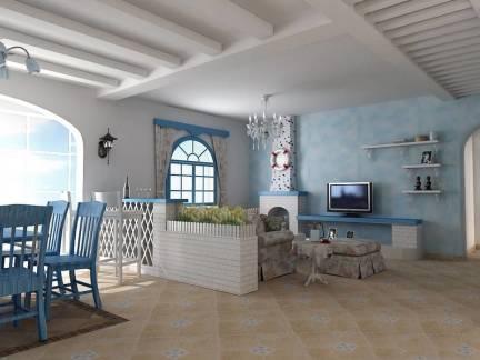 白色时尚地中海风格客厅吊顶装修设计图