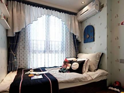 蓝色地中海风格儿童房窗帘装修效果图