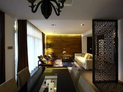 黑色中式风格客厅优雅窗帘装修美图
