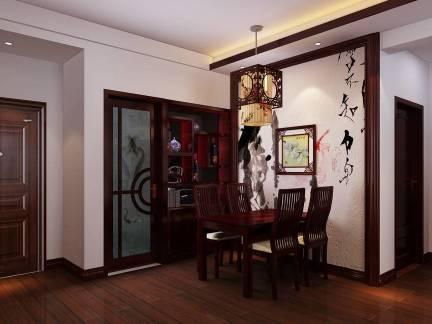 棕色中式风格餐厅隔断装修设计图