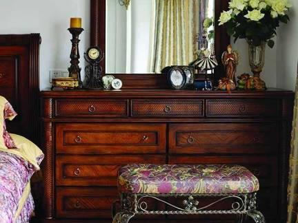 咖啡色中式风格卧室梳妆台装修设计图