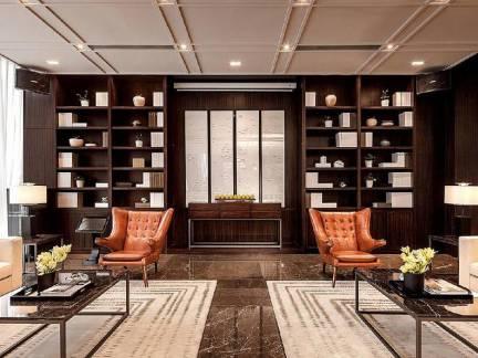 米色中式风格时尚客厅窗帘装修设计图