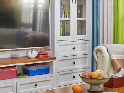 白色时尚现代风格客厅书柜