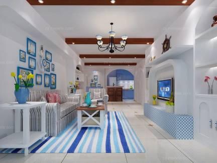 白色文艺地中海风格儿童房吊顶装修效果图