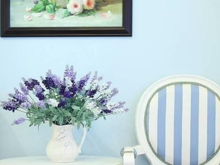 蓝色地中海风格客厅背景墙效果图