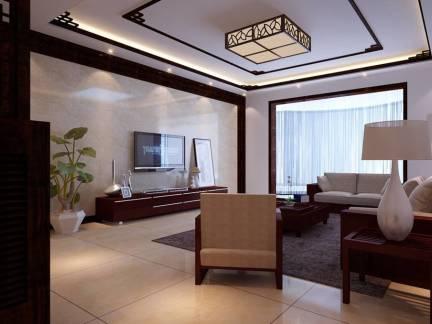 彩色中式风格客厅吊顶装修设计图